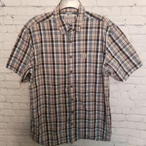 Carhartt plaid short sleeve button up shirt